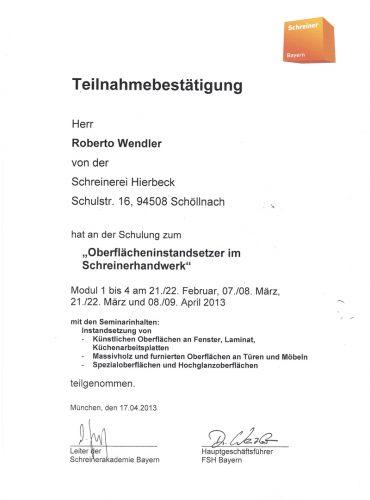 Teilnahmebestätigung Roberto Wendler